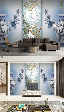 中式国画青花瓷客厅电视沙发背景