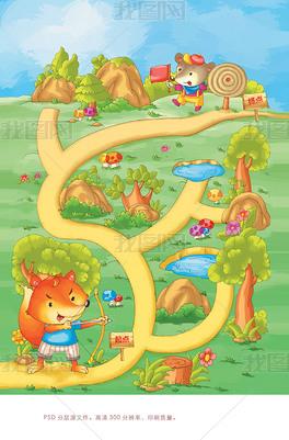 高清大图下载狐狸鼹鼠地鼠道路草地迷宫游戏