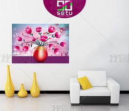 玉兰花花瓶插花装饰无框画壁画背景设计