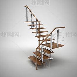 时尚简约不锈钢木楼梯3d模型