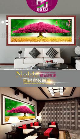 时尚招财树装饰无框画壁画背景设计