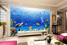 海底世界创意背景墙