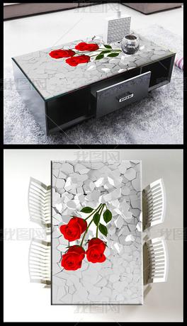 3D桌面长出玫瑰花背景壁画