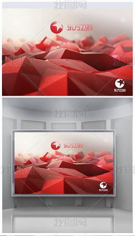 红色3D低多边形抽象山峰形象背景墙设计