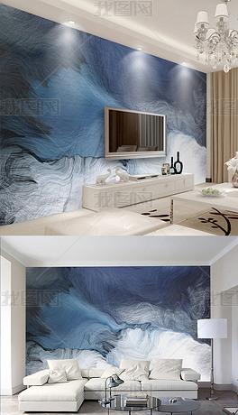 现代简约清新动感线条电视背景墙