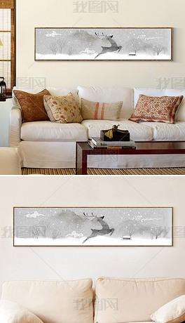 麋鹿抽象手绘欧式怀旧驯鹿床头画水墨无框画