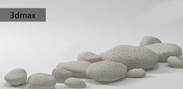 三维通石头岩石碎石石堆3dmax模型