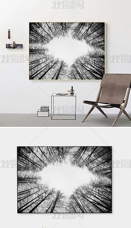 黑白深林树枝风景装饰画无框画