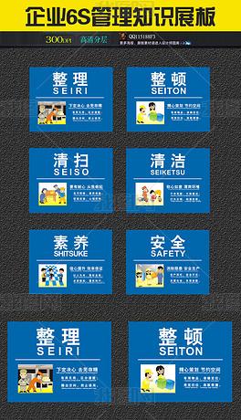 简约蓝色公司企业6S管理展板宣传看板