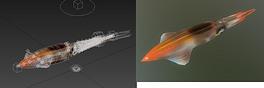 3D墨鱼海洋软体动物乌贼动画带骨骼模型