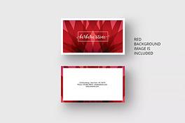 红色背景简约名片设计模板