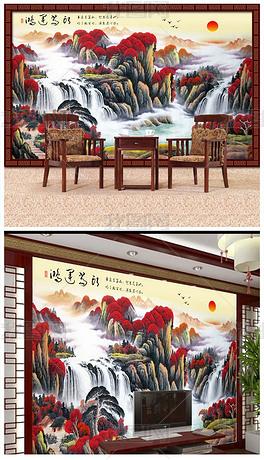 中国风古典手绘水墨山水鸿运当头装饰画