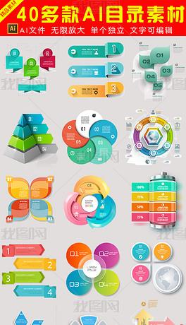 时尚炫彩PPT信息图表目录导航标题矢量图