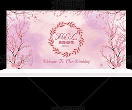 三生三世十里桃花粉色水彩婚礼迎宾签到ps