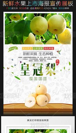 新鲜水果鸭梨皇冠梨海报图片