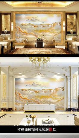 新中式大气大理石纹山水背景墙