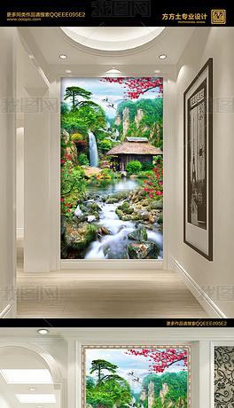 绿色唯美山水瀑布装饰画乡间小屋玄关背景墙
