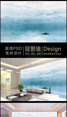 新中式意境山水画手绘电视背景墙装饰画