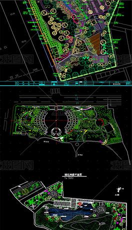 60套创意公园景观布置全套CAD图库