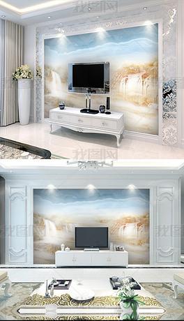 新中式大理石纹山水背景墙流水生财