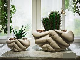 手捧造型花盆仙人掌盆栽盆栽花卉绿植景观