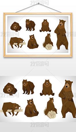手绘卡通棕熊插画设计AI矢量图