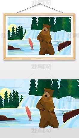 手绘抓鱼的熊插画设计AI矢量图