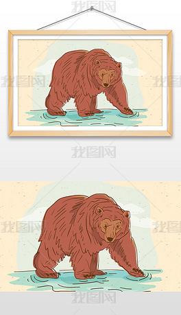 手绘在水中行走的棕熊插画设计AI矢量图