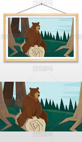 手绘一只坐在树桩的棕熊插画设计AI矢量图