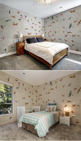 现代复古手绘蜻蜓全屋背景墙