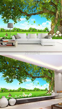 蓝天绿地苍天大树优美风景电视背景墙装饰画