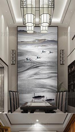 高清大气新中式大理石纹山水画背景墙
