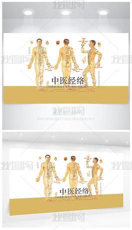 人体标准穴位经络图医院宣传海报设计
