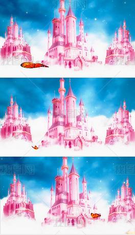 梦幻卡通粉色城堡LED背景视频素材