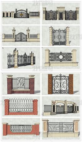 精品古典欧式风格铁艺围栏围墙SU模型