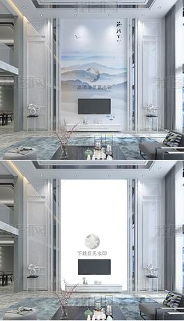 高清现代别墅复式客厅石材背景墙场景样机151