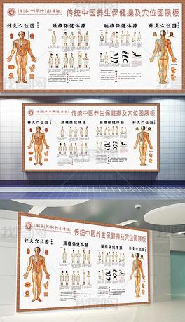 中医养生针灸穴位腰颈椎保健体操文化墙展板