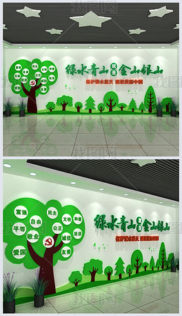 绿色发展战略绿水青山就是金山银山文化墙