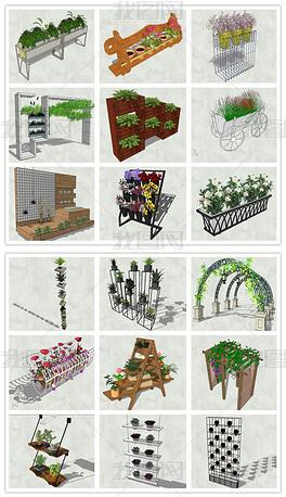 精品创意花箱花架花坛种植器皿种植器SU模型