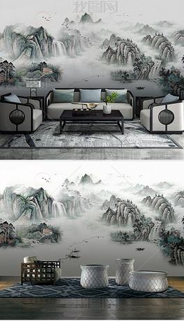 新中式意境抽象水墨山水风景客厅背景墙壁画