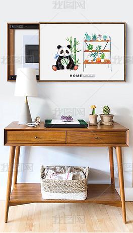熊猫多肉花架电表箱装饰画