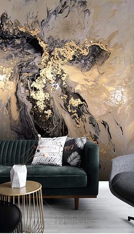 新中式抽象金色意境山水泼墨背景墙装饰画