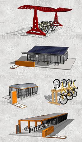 自行车棚车架SU草图大师模型