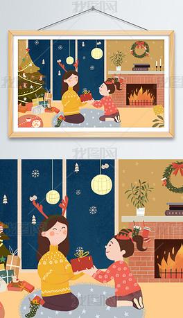 圣诞节送礼物温馨母女卡通手绘浪漫插画