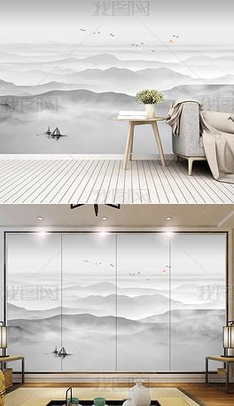新中式现代简约水墨山水电视背景墙装饰画