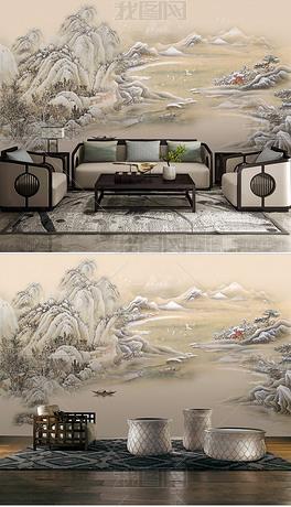 新中式意境国画山水风景客厅背景墙装饰画