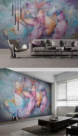 欧式手绘油画彩蝶纷飞背景墙装饰画