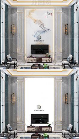 高清中式别墅复式客厅石材背景墙场景样机380