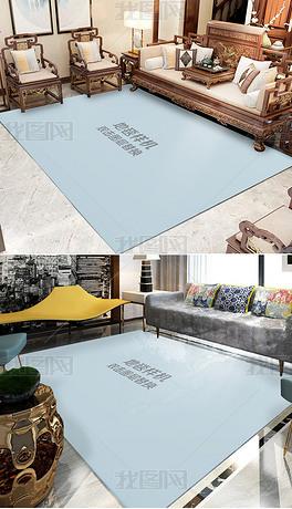 现代简约新中式客厅茶几垫场景样机贴图