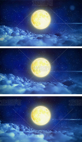 圆月夜空冲刺云海穿梭高清视频素材